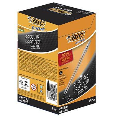 Caneta esferográfica 0.8mm cristal fina preta 1106460 BIC CX 50 UN