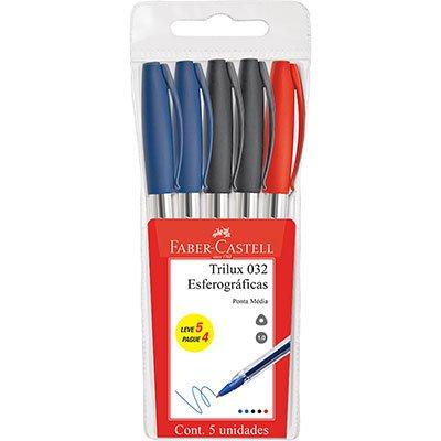 Caneta esferográfica 1.0mm Trilux Leve 5 Pague 4 032/OFFICE Faber Castell BT 5 UN