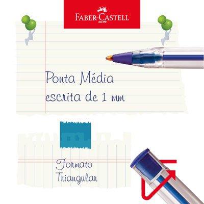 Caneta esferográfica 1.0mm Trilux azul SM/032AZ Faber Castell BT 3 UN