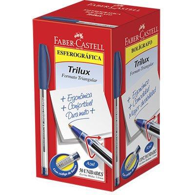 Caneta esferográfica 1.0mm Trilux azul 032/AZ Faber Castell CX 50 UN