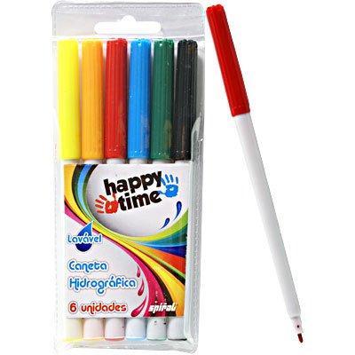 Caneta hidrográfica 06 cores lavável Happy-time BT 1 UN