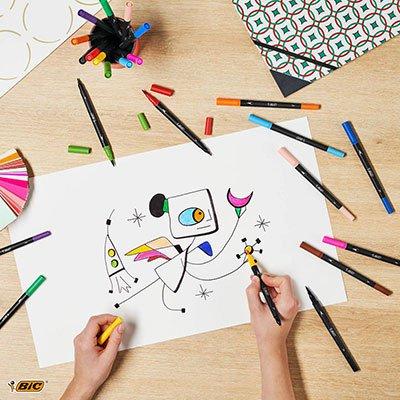 Caneta pincel Brush Pen ponta dupla rosa 971025 BIC UN 1 UN