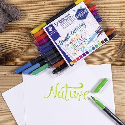 Caneta pincel Brush Pen 12 cores ponta dupla Staedtler - 3004 TB12 02 PT 1 UN