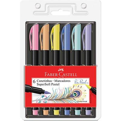 Caneta pincel Brush Pen 6 cores pastel 150706TPSOFT Faber Castell PT 6 UN