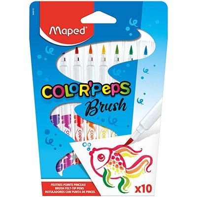 Caneta Hidrográfica Color Peps Brush, 10 cores, 848010, Maped BT 1 UN