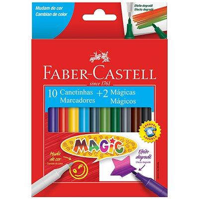 Caneta hidrografica 10 cores 2 mágicas 15.0112MZF Faber Castell CX 1 UN