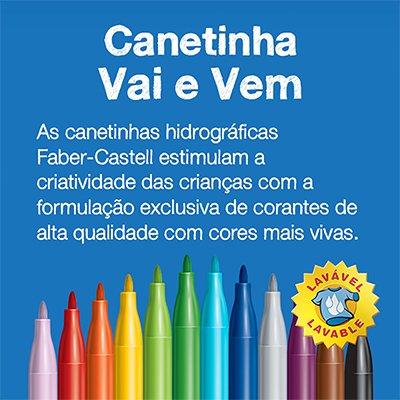Caneta hidrográfica 12 cores ponta vai e vem 150112VVZF Faber Castell BT 1 UN