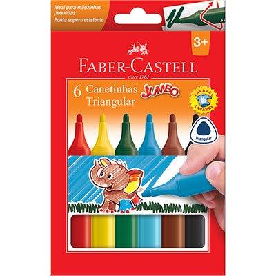 Caneta hidrográfica 06 cores Jumbo 15.0206J Faber Castell CX 1 UN