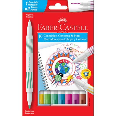 Caneta hidrografica 10 cores ponta dupla 15011DUO Faber Castell BT 1 UN