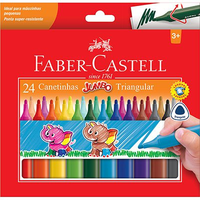 Caneta hidrográfica 24 cores Jumbo 15.0224J Faber Castell BT 1 UN
