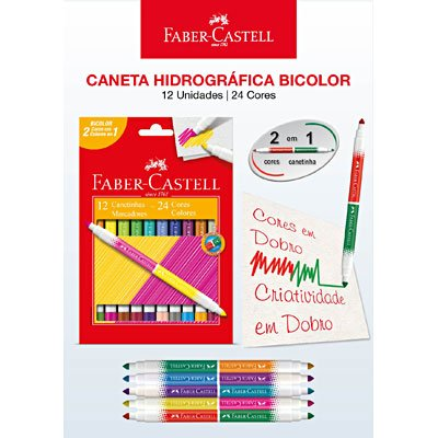 Caneta hidrográfica 24 cores (12 bicolor) 150612N Faber Castell BT 1 UN