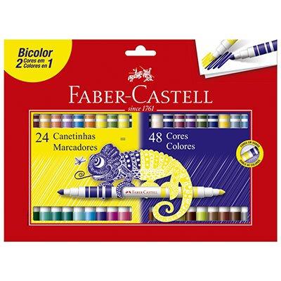 Caneta hidrográfica 48 cores (24 bicolor) 150624N Faber Castell BT 1 UN