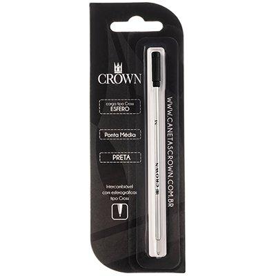 Carga p/ caneta esferográfica ponta média preta CA12009P Crown BT 1 UN