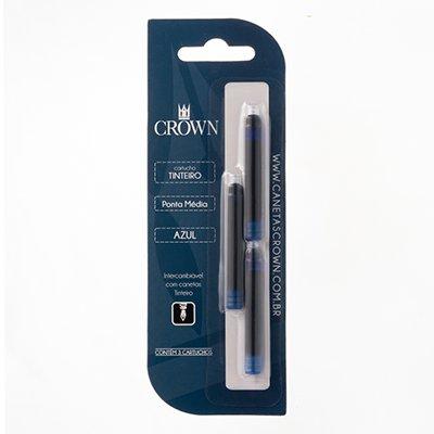Cartucho p/caneta tinteiro azul CA32005A Crown BT 3 UN