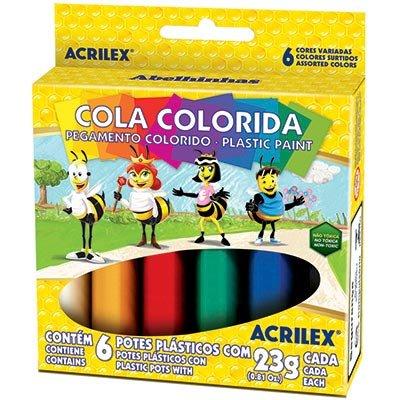 Cola colorida 23g c/06 cores acricor 02606 Acrilex CX 1 CJ