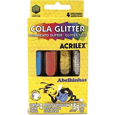 Cola colorida 15g c/gliter 4 cores 02924 Acrilex PT 1 UN