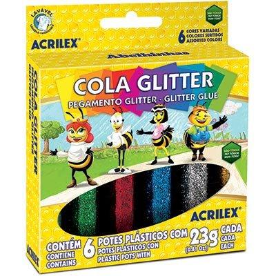 Cola colorida 23gr c/gliter 6 cores 02923 Acrilex CX 1 CJ
