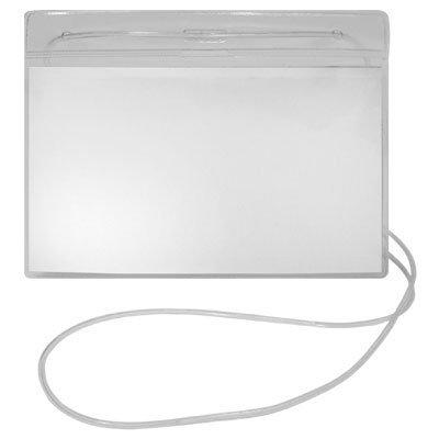 Crachá horizontal transparente c/ cordão 120x80mm 240 Plastpark PT 50 UN