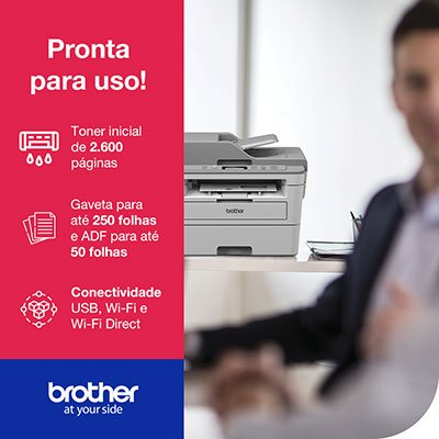 Impressora Multifuncional Laser DCP B7535DW, Monocromática, Wi-fi, Conexão Ethernet, Conexão USB, 110v - Brother CX 1 UN
