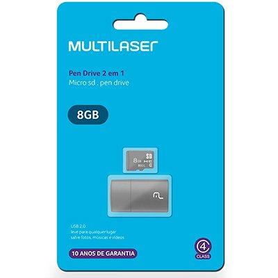 Leitor USB com Cartão de memória micro SD 8gb Classe 4 MC161 Multilaser BT 1 UN