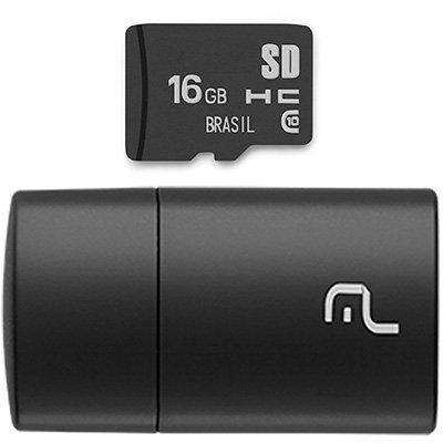 Leitor USB com Cartão de memória micro SD 16gb Classe 10 MC162 Multilaser BT 1 UN