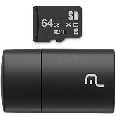 Leitor USB com Cartão de memória micro SD 64gb Classe 10 MC164 Multilaser BT 1 UN