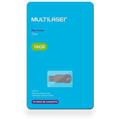 Pen Drive 16gb USB 2.0 Titan preto PD602 Multilaser BT 1 UN