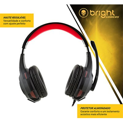 Headset Led Gamer vermelho 0468 Bright PT 1 UN