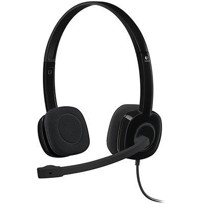 Headset com fio Logitech H151 com Microfone com Redução de Ruído e Conexão 3,5mm BT 1 UN