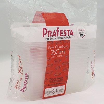 Pote plástico descartável quadrado 250ml c/tampa 8466 Prafesta PT 20 UN