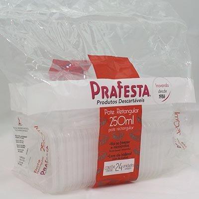 Pote plástico descartável retangular 250ml c/tampa 8302 Prafesta PT 24 UN