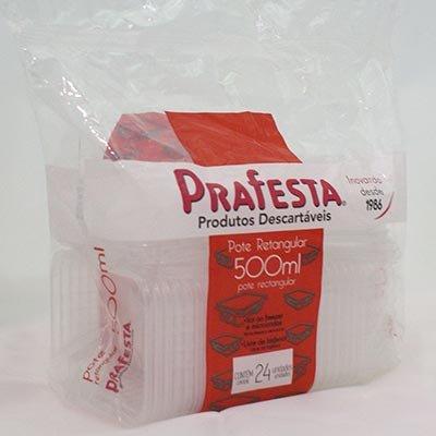Pote plástico descartável retangular 500ml c/tampa 8311 Prafesta PT 24 UN