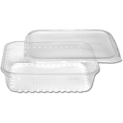 Pote plástico descartável retangular 750ml c/tampa 8316 Prafesta PT 24 UN
