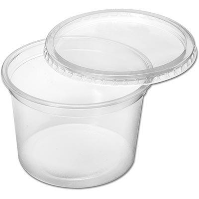 Pote plástico descartável redondo 500ml c/tampa 8231 Prafesta PT 24 UN
