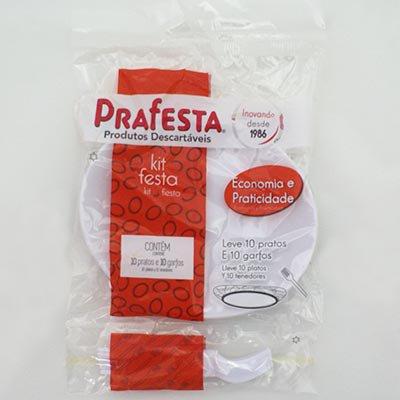 Kit descartável pratos/garfos 6005 Prafesta PT 10 UN