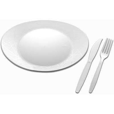 Kit descartável churrasco pratos/garfos/facas 6001 Prafesta PT 10 UN