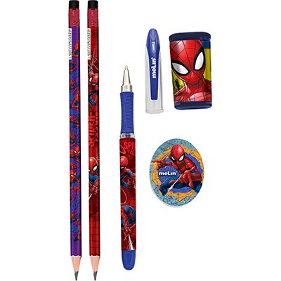 Conjunto Escrita Escolar Spider Man - Homem Aranha c/5 itens Molin BT 1 KT