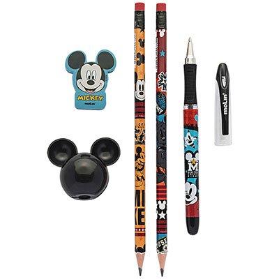 Conjunto escrita escolar Mickey c/5 itens sortido 22630 Molin BT 5 UN