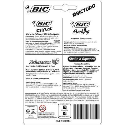 Kit Escolar Basics, 1 Caneta Corretiva + 1 Marcador de Texto + 1 Lapiseira 0,7mm + 2 Canetas Cristal BIC CX 5 UN