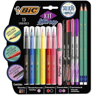 Kit Lettering BIC, 6 Canetas Brush Pen, 1 Marca Texto, 2 Intensity Média, 2 Intensity Fina, 2 Lápis Evolution - 971080 CX 13 UN
