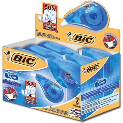 Corretivo em fita 4,2mmx12m Super Tape 891821 Bic CX 6 UN
