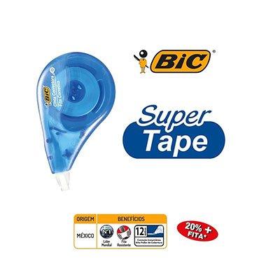 Corretivo em Fita BIC Super Tape 12 Metros, Correção Instantânea, Formato Anatômico, 891820 - BT 1 UN
