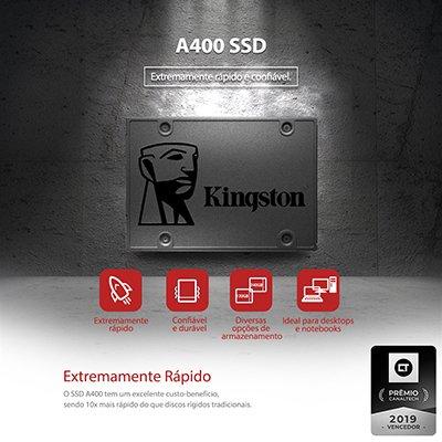 SSD 480GB 500mbs, Leitura 500MB/s, Gravação 450MB/s Kingston BT 1 UN
