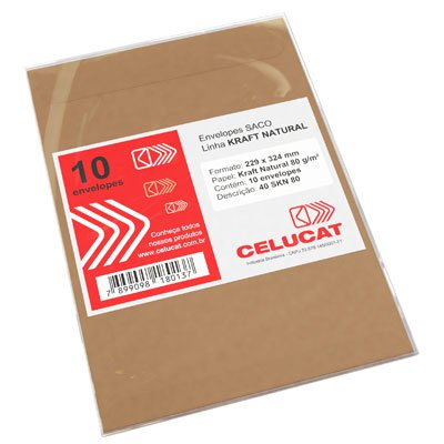 Envelope saco kraft natural 80g 229x324 40SKN80 Celucat BT 10 UN