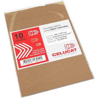 Envelope saco kraft natural 80g 240x340 56SKN80 Celucat BT 10 UN