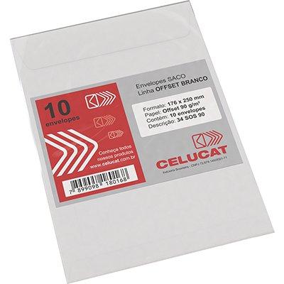Envelope saco off set branco 90g 176x250 34SOS90 Celucat BT 10 UN