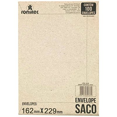 Envelope saco kraft natural 75g 162x229 kft23 2089 Romitec CX 100 UN