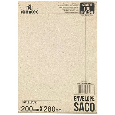 Envelope saco kraft natural 75g 200x280 kft28 2100 Romitec CX 100 UN