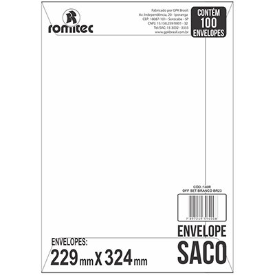 Envelope saco kraft branco 75gr 229x324 br-32 6963 Romitec CX 100 UN