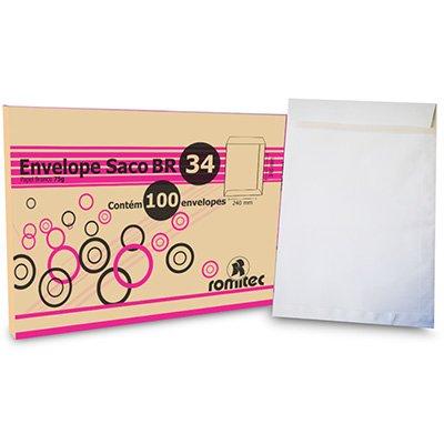 Envelope saco kraft branco 75gr 240x340 br-34 175 Romitec CX 100 UN